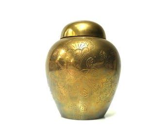 Vintage Brass Ginger Jar or Urn with Lid