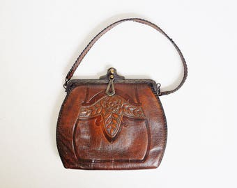 Art Deco Tooled Leather Handbag - Made by Spanish Craft