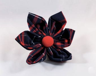 Navy and Red Old South Plaid Girl Dog Flower Bow Tie