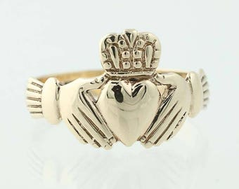 Irish Claddugh Ring - 9k Yellow Gold Friendship Wedding Size 7 3/4 G0915