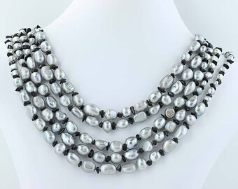 """5-Strand Gray Freshwater Pearl Black Agate Necklace Beaded Statement 21"""" Poly1102"""