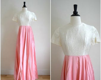 SALE Vintage sparkle brocade  and pink satin gown / prom dress