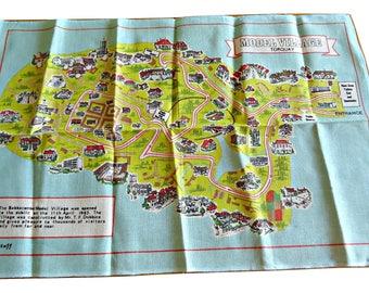 Tea Towel Souvenir Torquay England Model Town Tea Towel Vintage