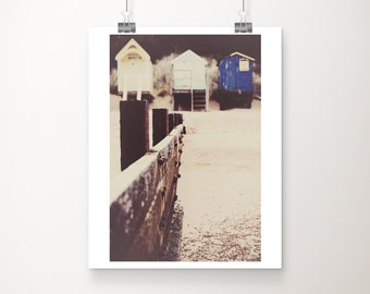 SALE beach hut photography, beach photograph, architecture photography, beige, cream, blue, white, spring, sand, wood, rustic