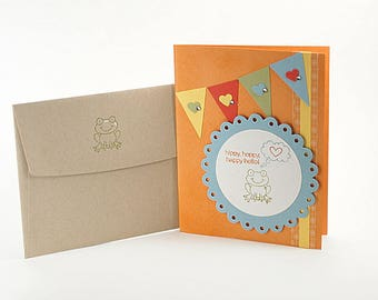Miss You Cards - Hello - Friendship - Card For Friend - Just Because - Thinking Of You - Cancer Card - Frog - Hand Stamped - Nature