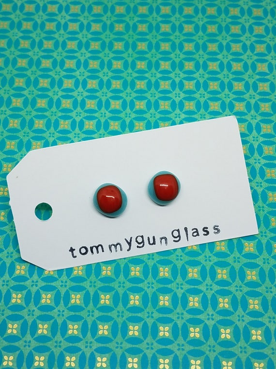 Red and Turquoise Glass Stud Earrings
