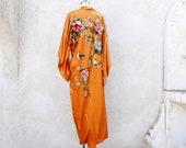 Golden Robe, Embroidered Japanese Kimono, Vintage Long Asian Robe