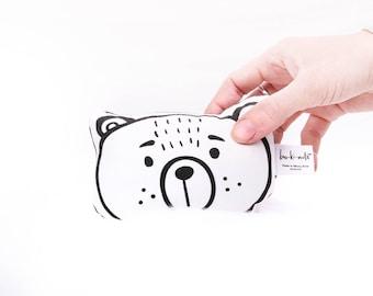 Bespoke handmade Softie Rattle - Bear - Black + White - Super soft knit fabric - Gentle rattle noise