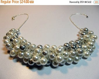 30% OFF SALE thru Mon White and Gray Pearl Cluster Necklace, Christmas Gift, Bridesmaid Wedding Mom Sister Girlfriend Jewelry Gift