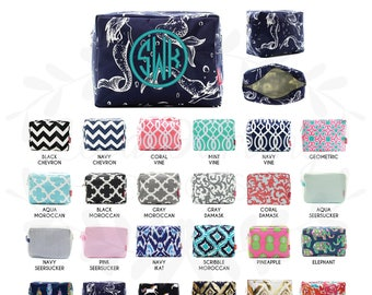 Monogram Cosmetic Bag/makeup bag/pencil case/zipper pouch