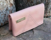 Genuine Leather Blush Pink and Gold Foldover Clutch Purse