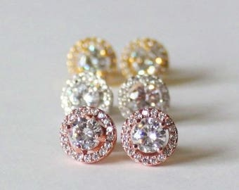 Rose gold CZ earrings, Bridesmaids earrings, Bridesmaids crystal studs, Cubic Zirconia earrings,  Bridesmaids gifts, Gold bridal earrings
