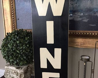 WINE Vertical Home Bar Tavern In Vino Veritas  Shop Sign Farmhouse Plaque HP Fixer Upper Style Wood U Pick Color