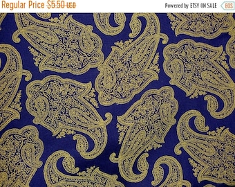 """ON SALE 30% OFF Sale Royal Blue Paisley Cotton Fabric 1 yard 27"""" Remnant"""
