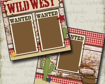 WILD WEST - Cowgirl - Western - 2 Premade Scrapbook Pages - EZ Layout 410