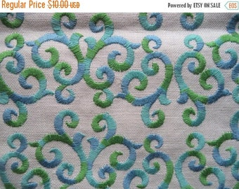 """ON SALE Swirly embroidered fabric/ vintage green blue and white embroidered fabric piece/ upholstry weight fabric piece measuring 24 3/4"""" x"""