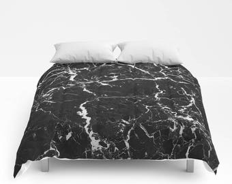 Black Marble Duvet Cover or Comforter, Bedspread Twin Full, Grey White Neutral Stone Texture Girls Dorm Bedding Teen Room Decor Bright color