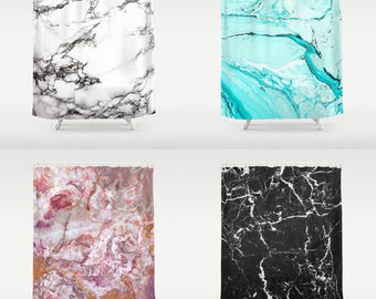 Marble Shower Curtain, Bright Colorful Black White Blue Pink Neutral Mauve Rust Grey Purple Turquoise Teal Stone Texture Bright vivid colors