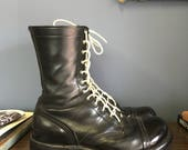 10 D  Men's Vintage Combat Boots Corcoran Lace Up Paratrooper Boots with Cap Toes and White Laces