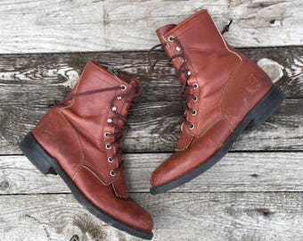 7 B | Vintage Lace Up Justin Roper Boots Redwood Brown Leather Ankle Boots