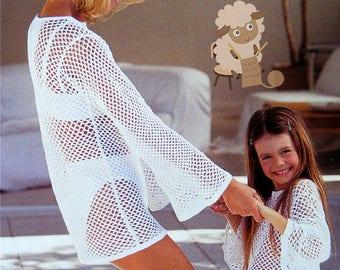 PDF Crochet Pattern - Beach Wear - Crochet Bikini & Cover Up Top/Sweater - Instant Download