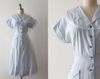 vintage 1940s dress // 40s 50s cotton striped dress