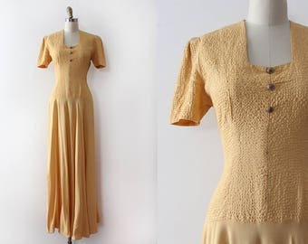 vintage 1930s gown // 30s yellow rayon crepe evening gown
