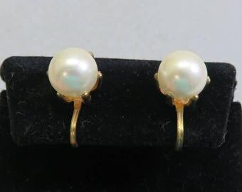 1960s Big Faux Pearl Screwback Earrings
