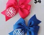 Monogram hair bows, custom hair bows, hair bow with initials, personalized hair bow, girl birthday gift, girls hair bow, toddler hair bow