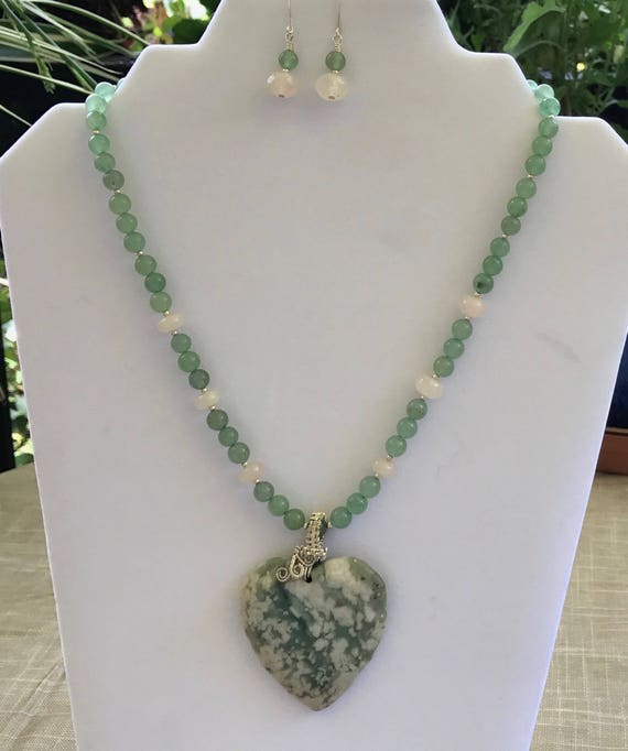 Graphic Pink & Green Granite Pendant with Rose Quartz and Green Aventurine Necklace