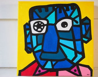 "Picasso's Boy- Original Acrylic Painting 10"" x 10"" x 1/12"""