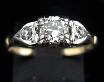 c.1930s Art Deco Old European Cut Diamond 14k Gold Engagement Promise Ring Vintage LAYAWAY AVAILABLE