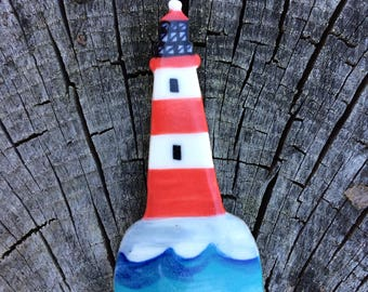 Lighthouse Badge.Nautical Brooch/seaside gift.pin/button/badge.Ceramic/Porcelain.Lighthouse jewellery.Handmade in Wales,Uk