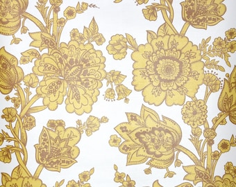 Retro Wallpaper by the Yard 70s Vintage Wallpaper - 1970s Gold and Brown Floral  White