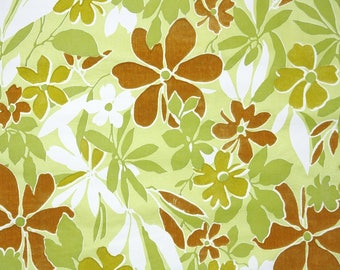 Retro Flock Wallpaper by the Yard 70s Vintage Flock Wallpaper - 1970s Brown and Green Flocked Floral