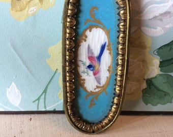18th century French  hand painted swallow mourning casket plaque