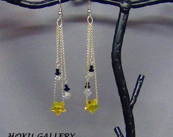 """Swarovski Crystal Star Earrings, Sunflower Yellow, Stainless Steel Earwires - 3.5"""" - Hand Crafted Artisan Jewelry"""