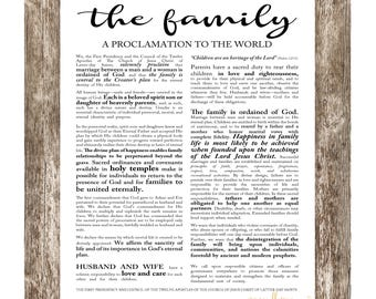 LDS Family Proclamation, Digital File 18x24, 16x20, 11x14, 8x10, LDS Printable, Proclamation to the World