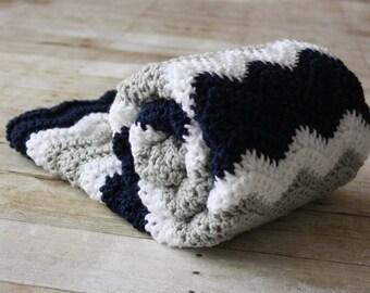 READY TO SHIP - Chevron Baby Blanket, Navy Blue Baby Blanket, Crochet Baby Blanket, Boy Baby Blanket, Soft Baby Blanket, Grey Baby Blanket