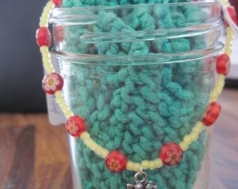 Yellow & Red Millforie Bead w/ Sunflower Dangle Bracelet/Anklet.....Hand Made... OOAK...1058ha