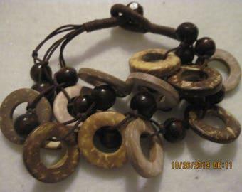 Vintage to Mod UNIQUE Earth Color Rings & Balls Fringe Bracelet....#5273