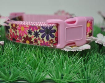 Dog Collar -Flower Power -  50% Profits to Dog Rescue - Pink or Black Hardware