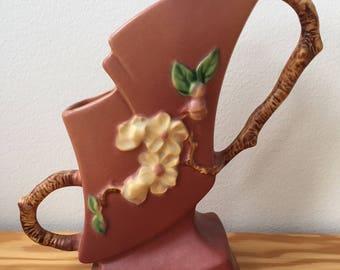 """Original 1940s Roseville Pottery #373-7 """"Apple Blossom"""" Twig-Handled Vase"""