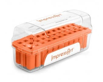 ORANGE Metal Stamp Block Holder, Metal Stamp Storage Container, Use with ImpressArt 3mm stamps, fits 33 stamps up to 7mm square, tol0813
