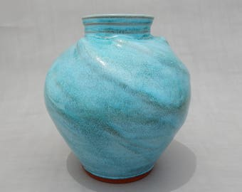 Pottery Flower Vase - Turquoise - Spherical - Terracotta Handmade Earthenware - Ceramic