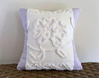 WHITE ROSE lilac vintage chenille pillow cover, 12 x 12 inches, orchid cushion cover, purple pillow case, cottage chic pillow sham