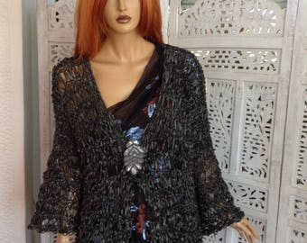 NEW jacket kimono handmade knitted loose fit bell sleeves silk ribbon dark chocolate jacket gift idea for her all season by golden yarn