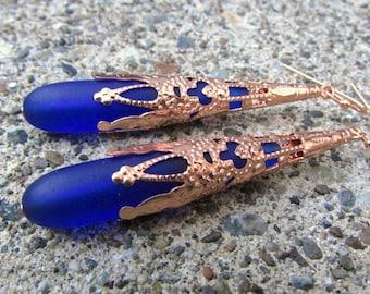 Cobalt Blue sea glass earrings extra long  earrings  beach glass jewelry  teardrop bright copper cone