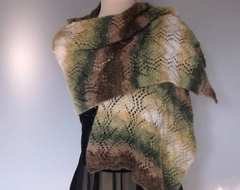 On Sale. Women's hand knitted lacy sparkly shawl / wrap. Self patterning. Green and brown