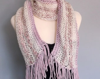 Women / teenager hand knitted freestyle scarf. Lilac and cream mix and match.